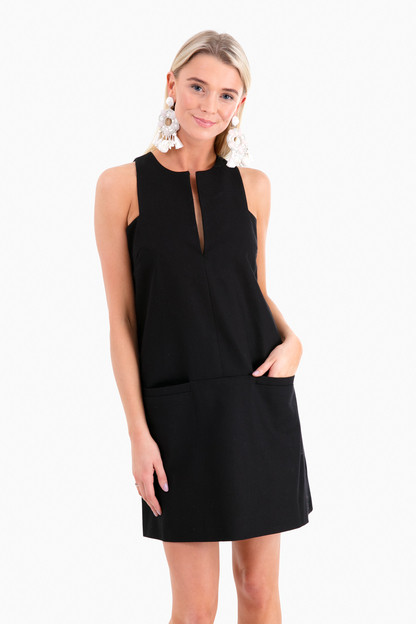 black cut out mod dress