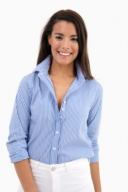 the exclusive blue striped essential icon shirt