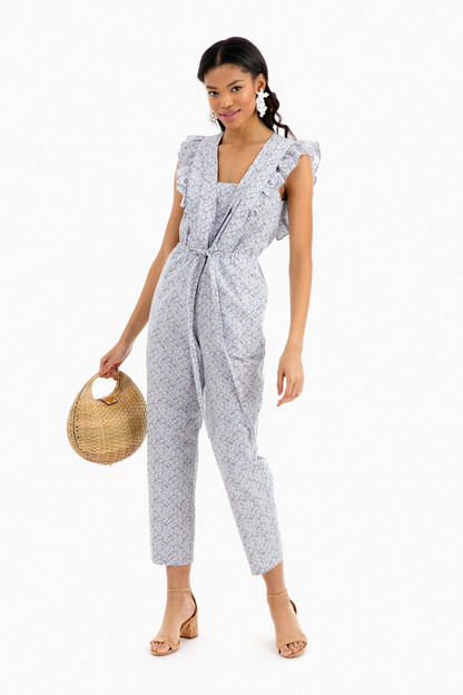 short sleeve meadow floral jumpsuit