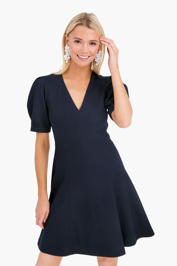 short sleeve stretch texture dress