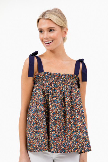 alessandra floral tie shoulder top