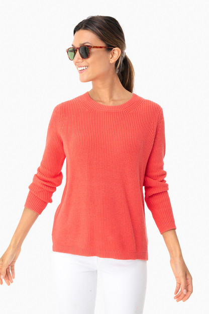 coral emma crewneck shaker sweater