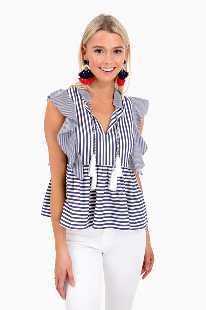 denim stripe becca top