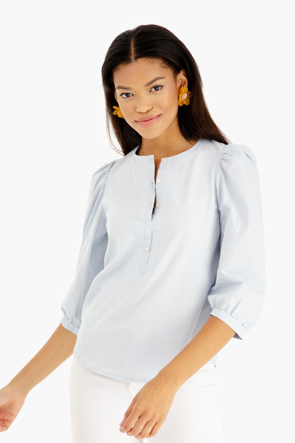 long sleeve poplin sleeve jersey top