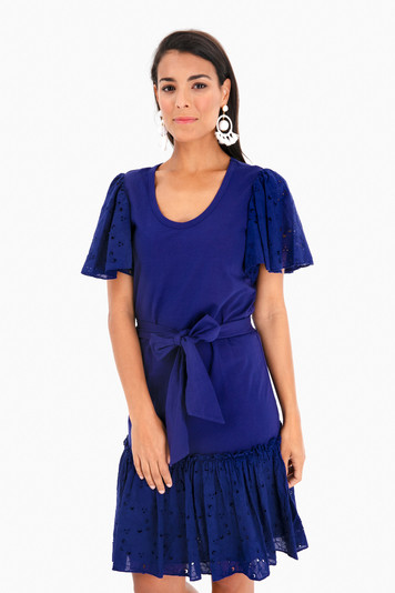 short sleeve embroidered jersey dress