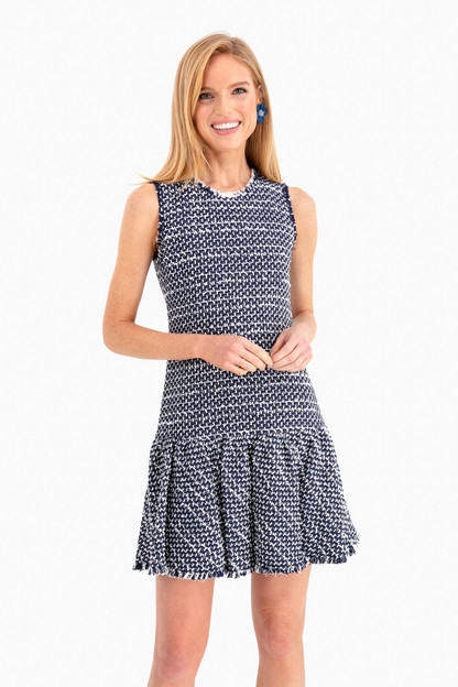 sleeveless multi tweed dress