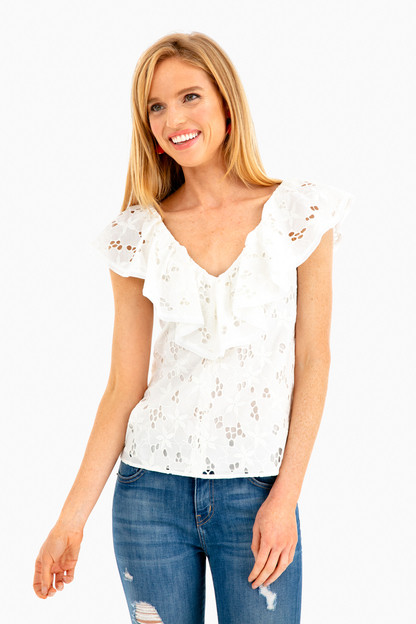 sleeveless adriana ruffle top