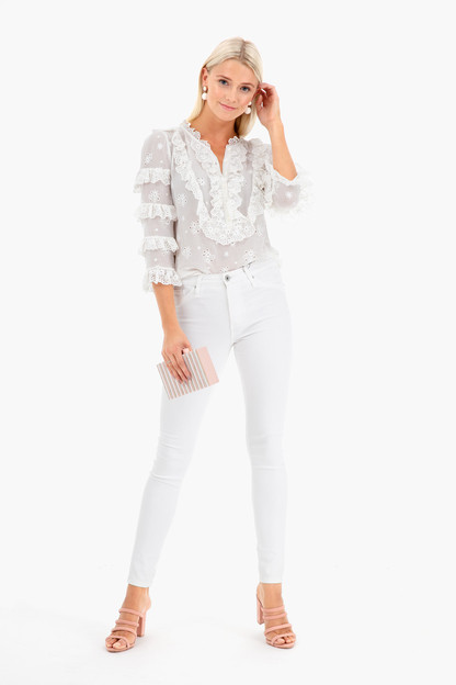 long sleeve dree embroidery top