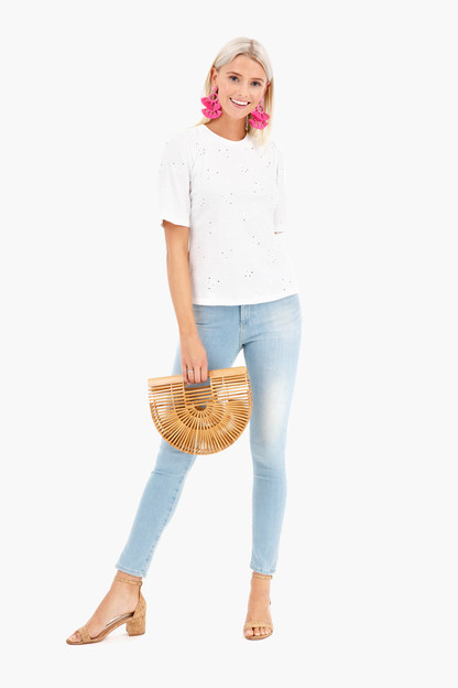 short sleeve dree embroidery jersey top