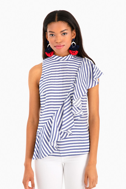 sailor stripe asymmetrical ruffle top