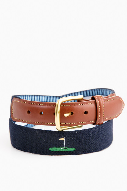 hole in one embroidered belt