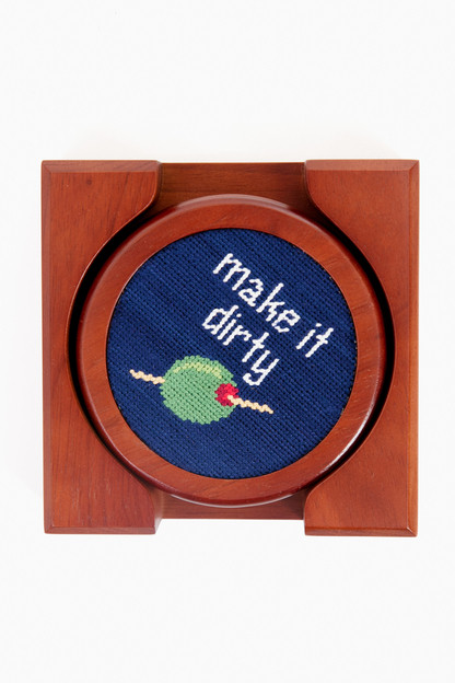 cocktail orders needlepoint coaster set