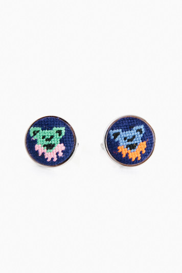 dancing bears needlepoint cufflinks