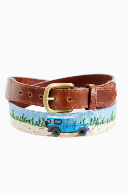beach trucks needlepoint belt