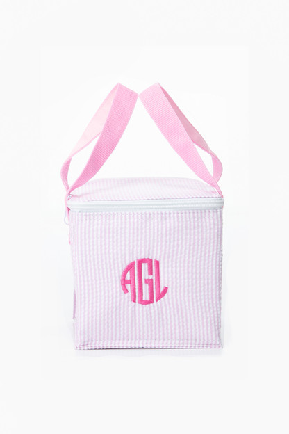 pink seersucker snack square bag