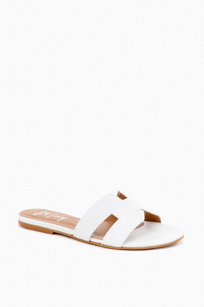 white leather alibi sandals