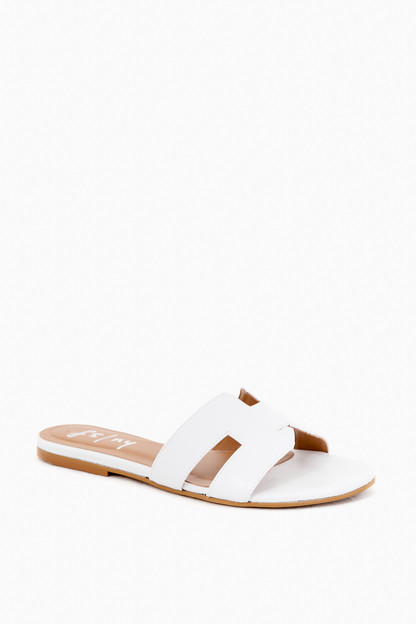 white leather alibi sandals