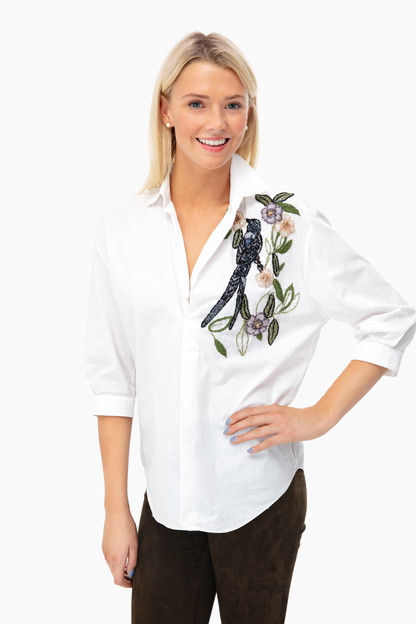 embellished cotton poplin top