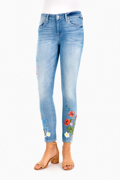 ankle skinny jean with embroidery