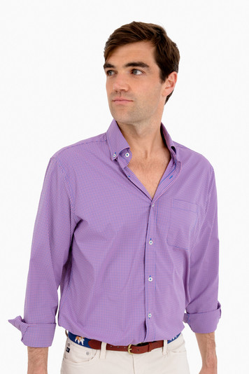 whale cay gingham performance classic murray button down