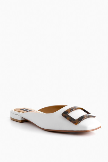crown leather mule