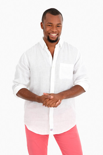 solid linen classic murray button down