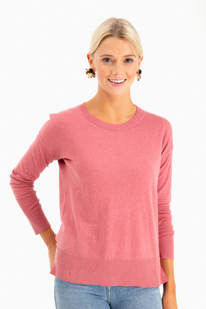 High-Slit Crewneck Sweater