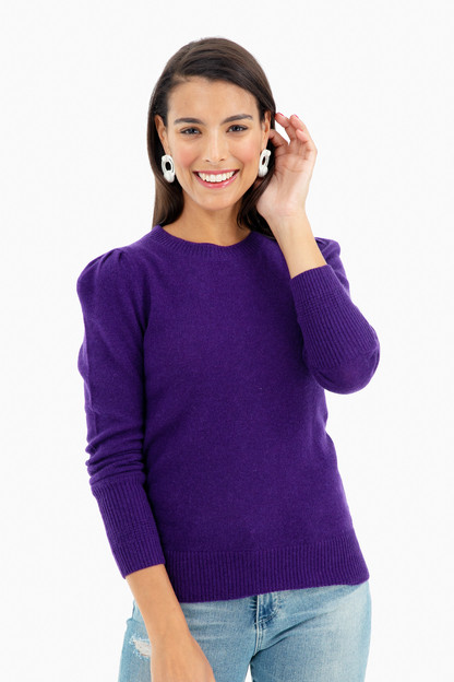 puff shoulder cashmere crewneck sweater