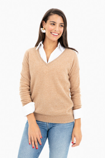 essential cashmere v-neck sweater