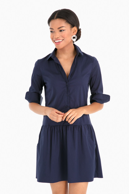 Navy Drop Waist Shirt Dress