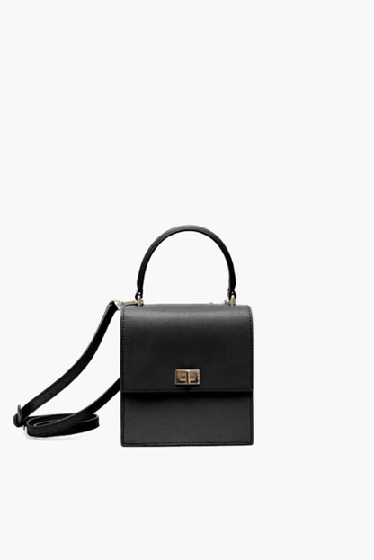 black leather mini lady bag