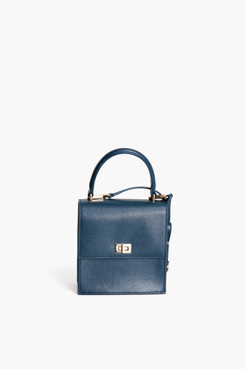 navy leather mini lady bag
