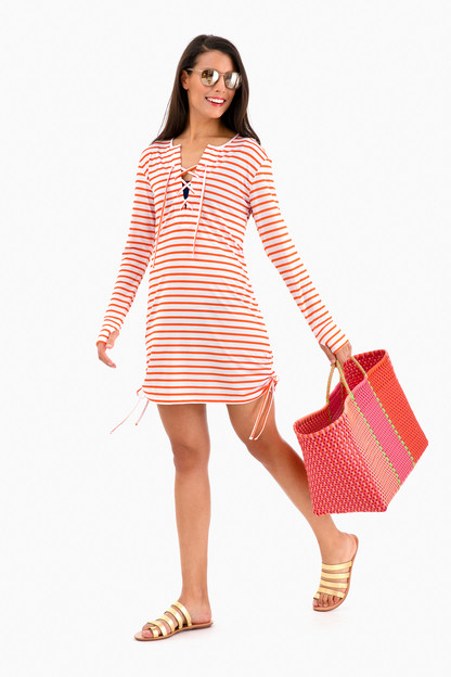 striped suntek dress