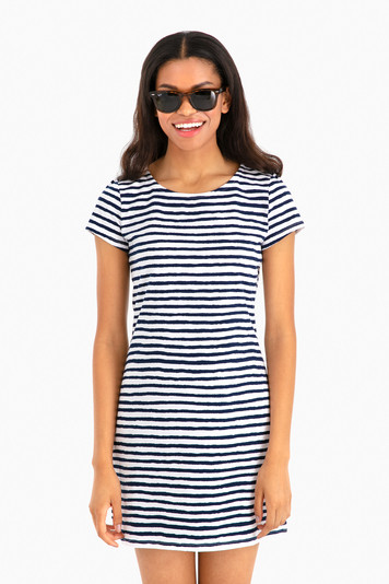 chalk stripe tee shirt dress