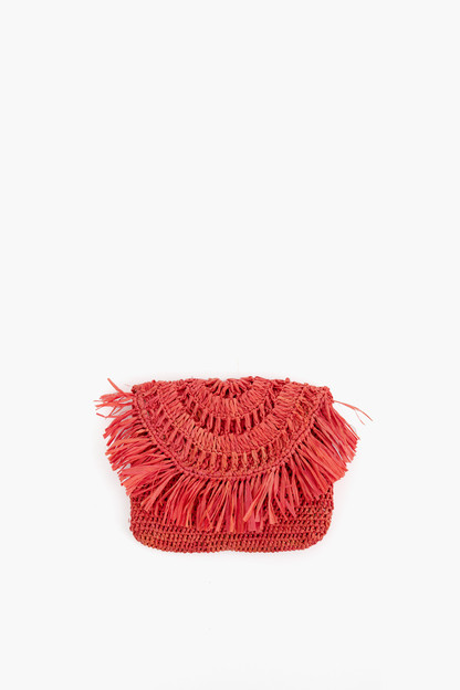 coral mia mini fringe clutch