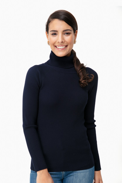 Navy Sonia Ribbed Turtleneck