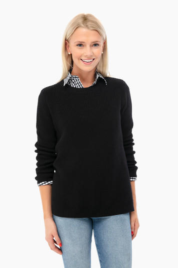 black emma crewneck shaker sweater