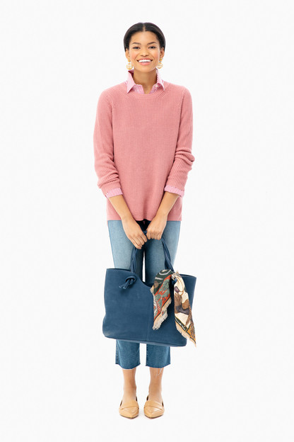 rose emma crewneck shaker sweater