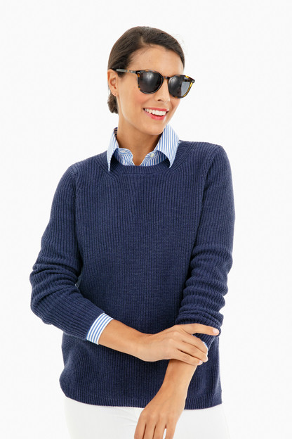 dark denim emma crewneck shaker sweater