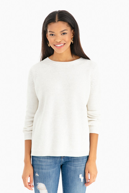 Winter White Melange Emma Crewneck Shaker Sweater