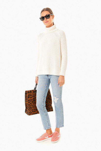 winter white shaker turtleneck sweater