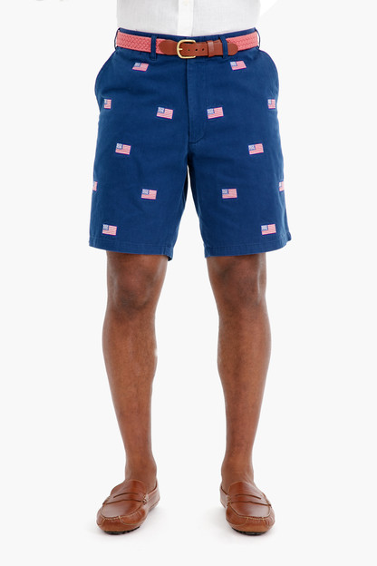 american flag cisco embroidered shorts
