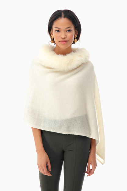 cashmere windchill fox trim topper