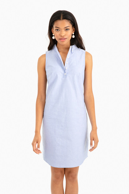 sleeveless oxford shirting dress