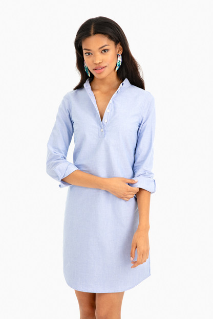 long sleeve oxford shirting dress