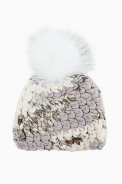 light melange deep pom beanie