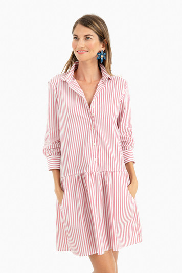 nantucket red striped drop waist shirt dress
