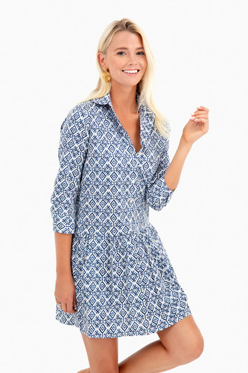 batik drop waist shirt dress