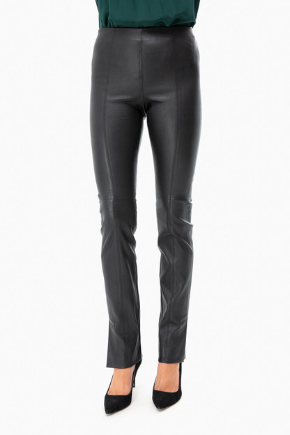 stitch front leather legging