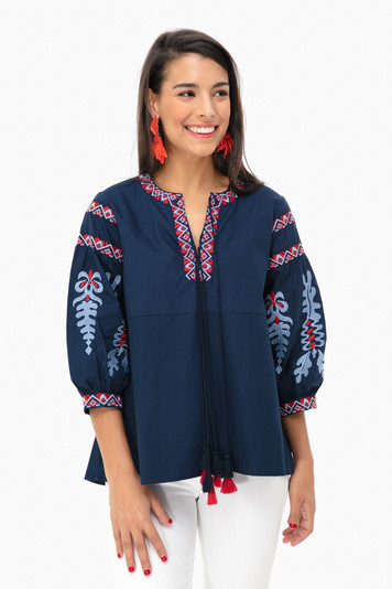embroidered linden blouse